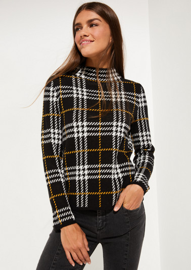 Knitted jumper with check pattern from comma