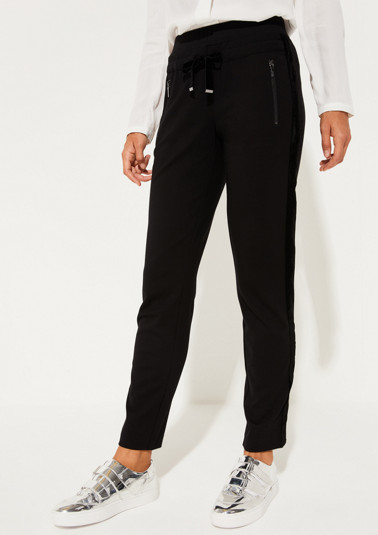 Extravagant lounge trousers with tonal side stripes from comma