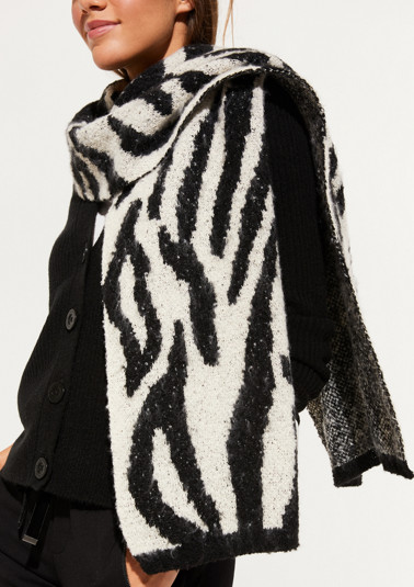 Cosy knitted scarf with zebra pattern from comma