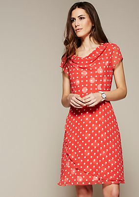 Elegant summer dress with a decorative polka dot pattern from s.Oliver