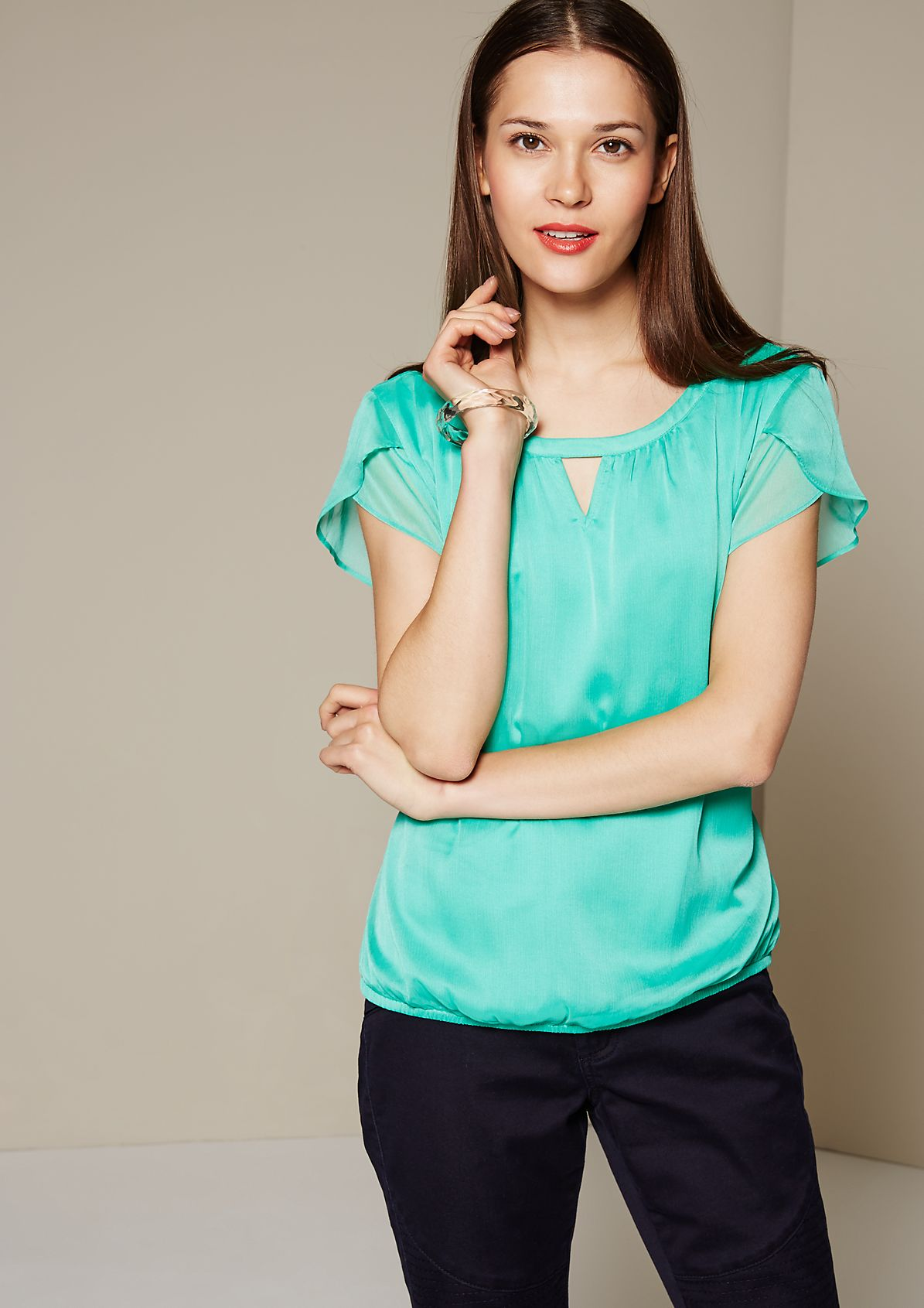 Elegant chiffon blouse with fine details from s.Oliver