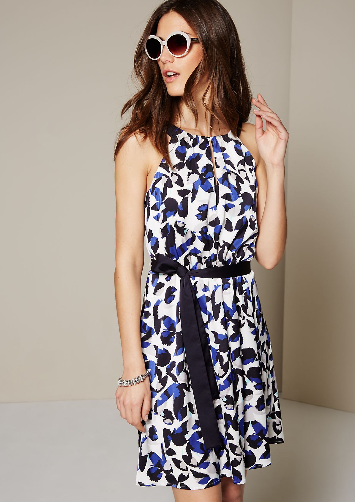 Glamorous satin dress with an attractive all-over print from s.Oliver