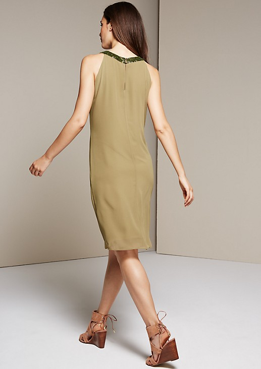 Sleeveless crêpe dress with lots of decorative sequins from s.Oliver