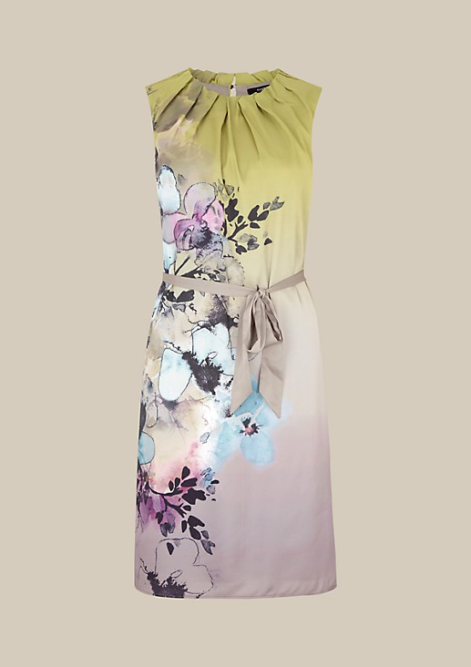 Stunning satin dress with a colourful all-over print from s.Oliver