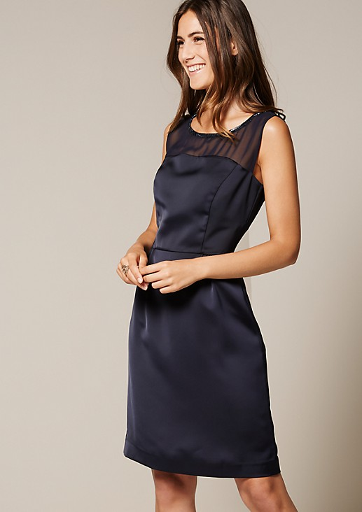 Glamorous satin dress trimmed with glittering bar beads from s.Oliver