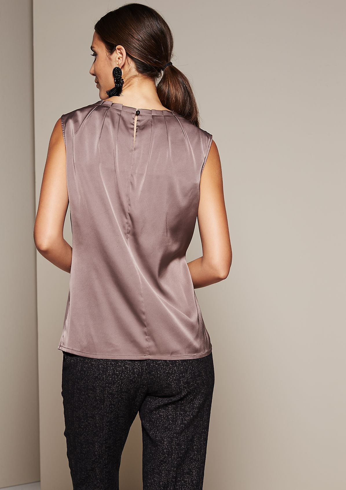 Blouse top with a fine sheen and decorative pleating from s.Oliver