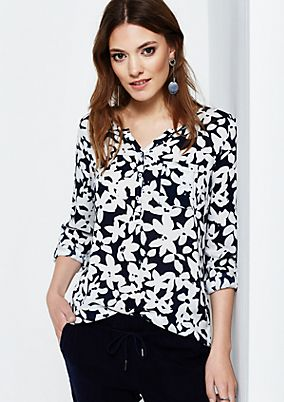 Casual long sleeve blouse with an elaborate all-over pattern from s.Oliver