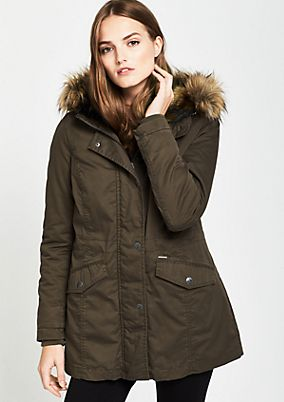 Parka with a fluffy fake fur trim from comma