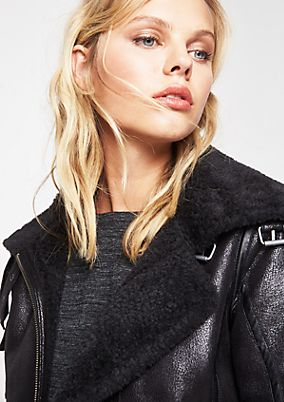 Bomber jacket in soft faux leather from comma
