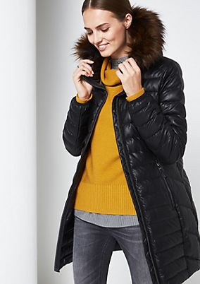 Lightweight down coat in faux leather from comma