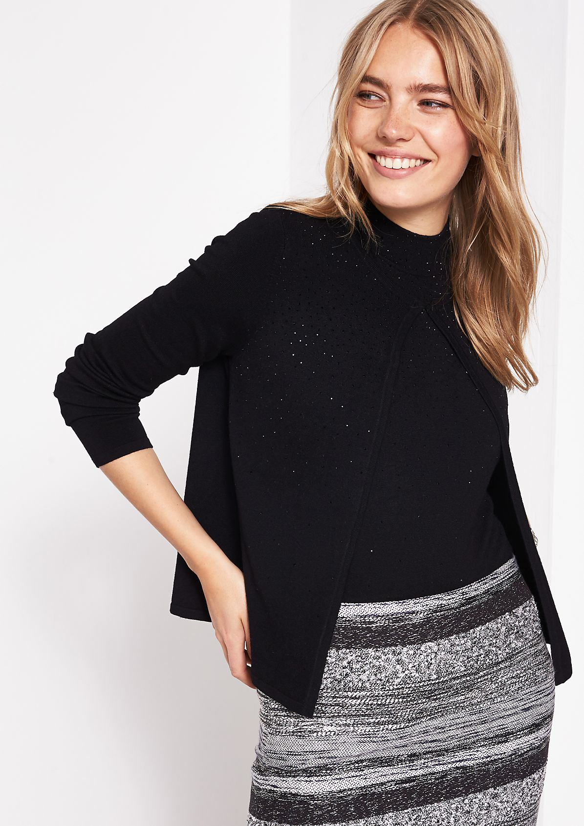 Soft cardigan with gemstone decoration from comma
