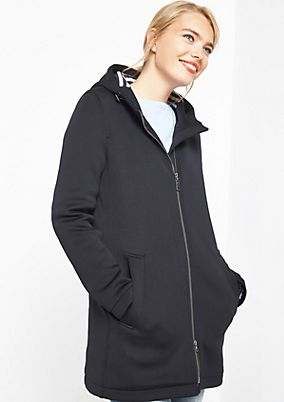 Warm, softshell coat with striped lining from comma