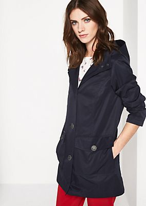 Short twill coat with a hood from comma