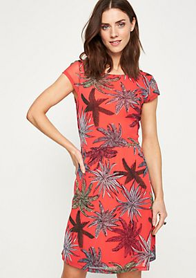 Fitted mesh dress with a printed pattern from comma