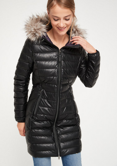 Long quilted coat in faux leather from comma