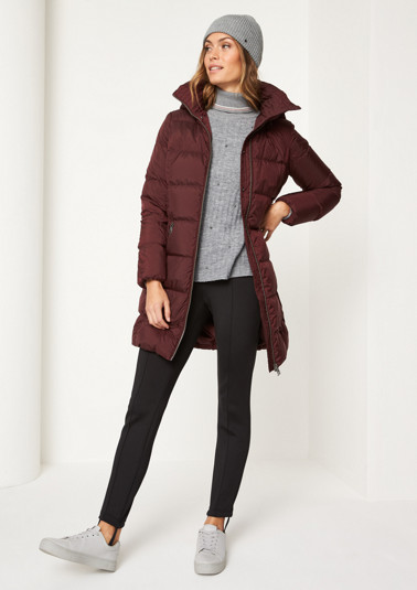 Quilted coat with a faux fur trim from comma