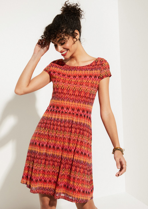 Delicate mesh dress with a summery all-over pattern from comma