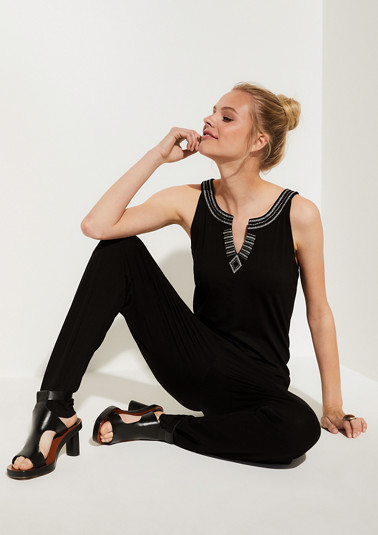 Jersey jumpsuit with decorative studs from comma