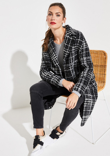 Bouclé coat with an exciting check pattern from comma