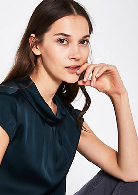 Elegant satin top with turn-down collar from comma