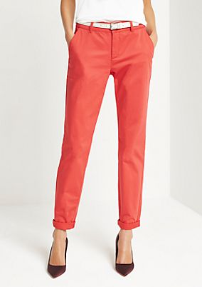 Satin trousers with a narrow belt from comma