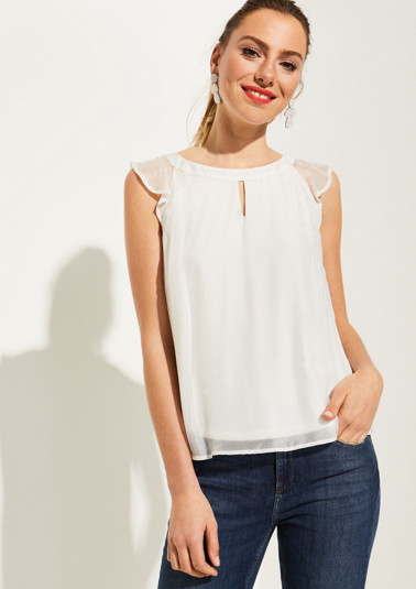Delicate silk blouse with cap sleeves from comma