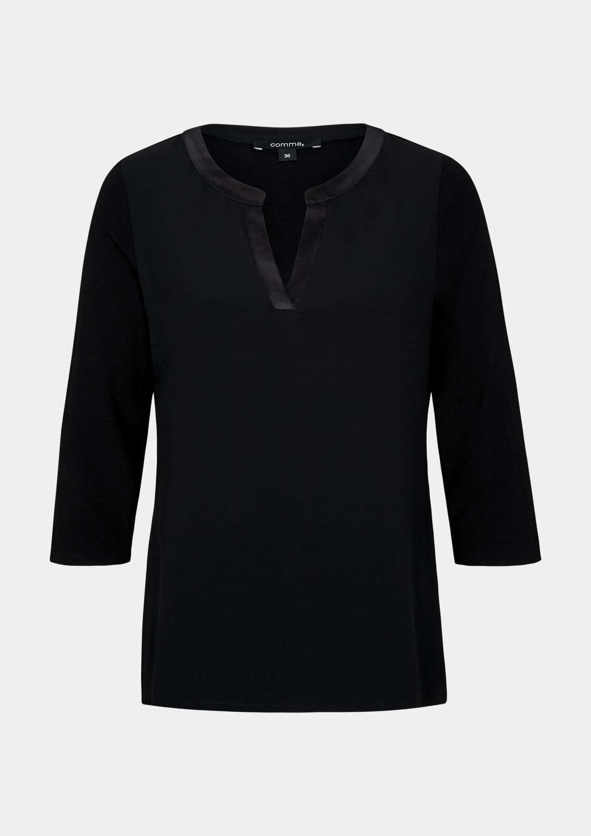 3/4-Arm Shirt im smarten Materialmix