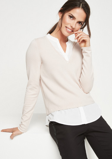 Textured jumper with blouse details from comma