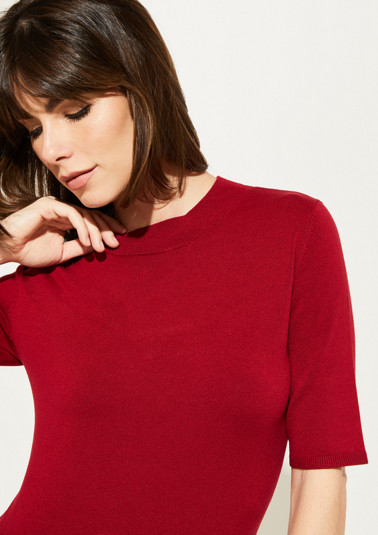 Short sleeve fine knit top with sophisticated details from comma