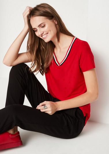 Kurzarm-Jerseyshirt mit Ton-in-Ton Muster