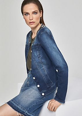 Denim jacket with a decorative collar from comma