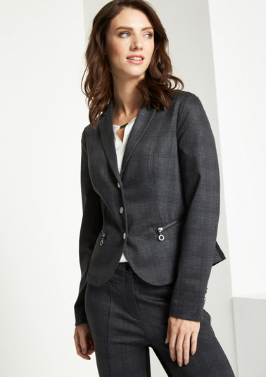 Extravagant blazer with a check pattern from comma