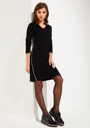 Fine knit dress with contrast side stripes from comma