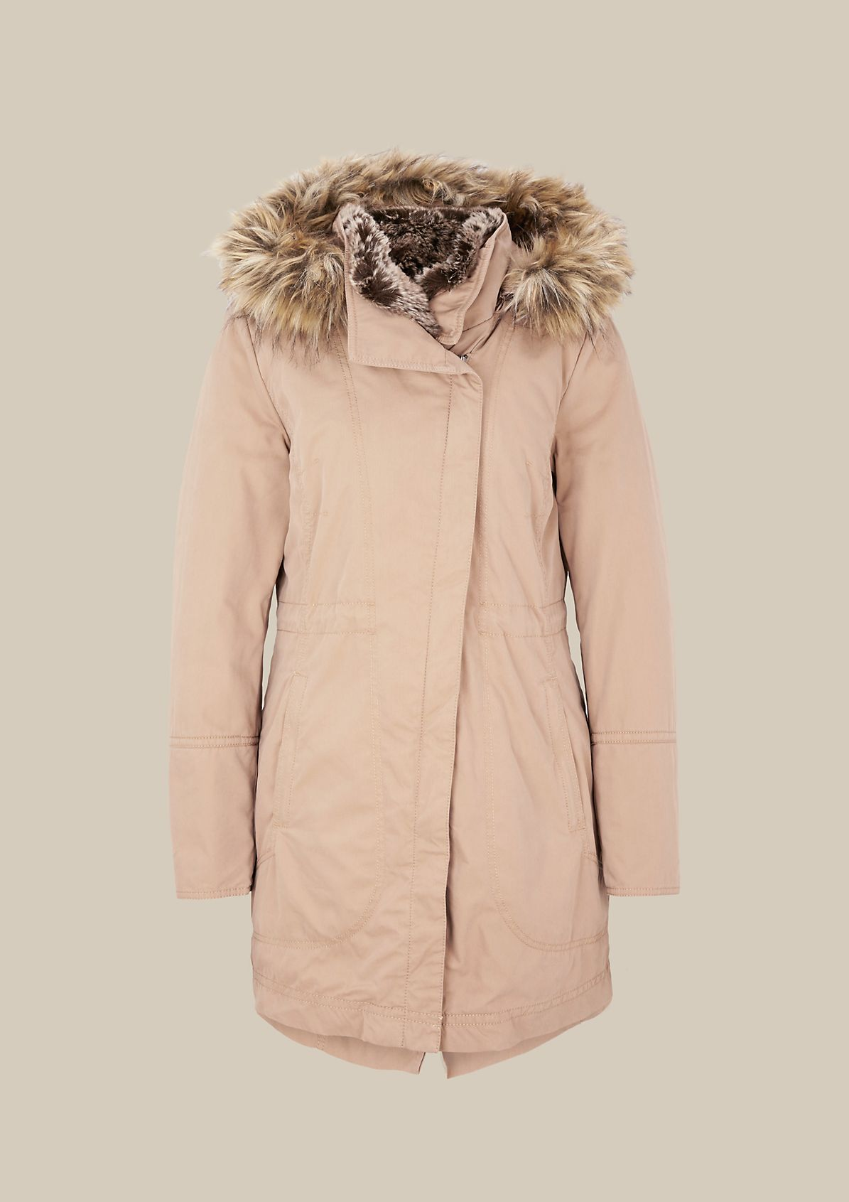 Warm winter parka with detachable hood from comma