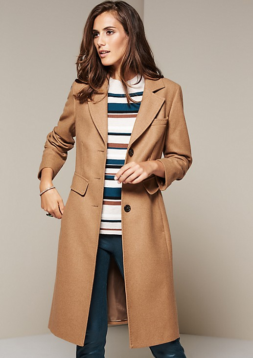 Soft wool coat with a tweed finish from s.Oliver