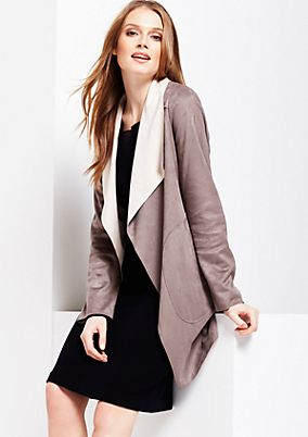 Elegant coat made of soft imitation leather from s.Oliver