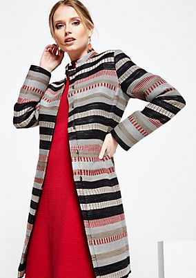 Elegant spring coat with a sophisticated jacquard striped pattern from s.Oliver