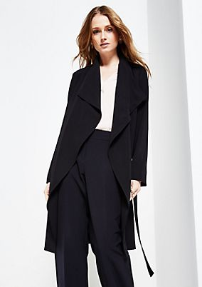 Glamorous crêpe coat with a wide shawl collar from s.Oliver