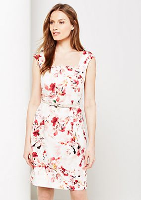 Extravagant satin dress with decorative floral print from comma