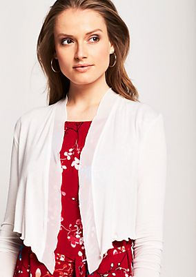 Short cardigan with a chiffon trim from s.Oliver