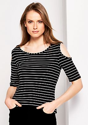 Lightweight jersey top with a striped pattern from s.Oliver