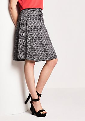 Short jersey skirt with a summery all-over pattern from s.Oliver