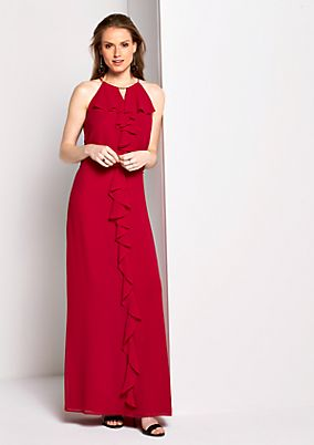 Elegant chiffon dress with a flounce trim from s.Oliver