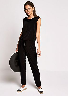 Jersey jumpsuit with fine pleat decorations from s.Oliver