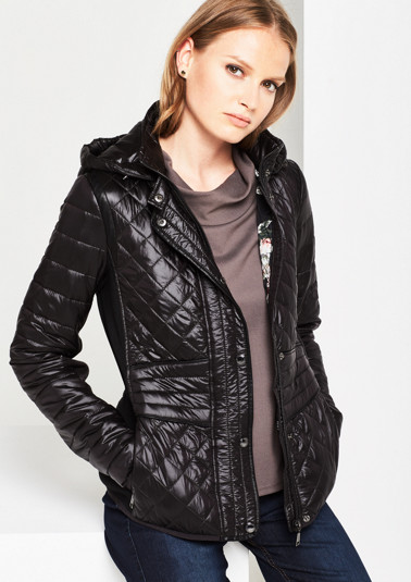 Extravagant quilted jacket with fabric inserts from comma
