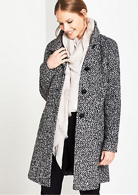 Bouclé coat with a salt and pepper pattern from comma