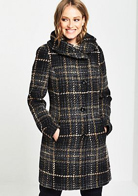 Warm bouclé coat with a check pattern from comma