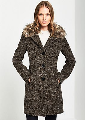 Bouclé coat with a fake fur collar from comma