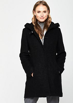 Warm bouclé coat with a hood from s.Oliver