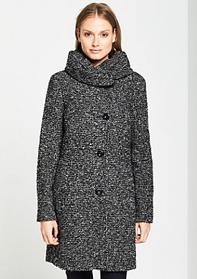 Bouclé coat in a mottled black & white look from comma